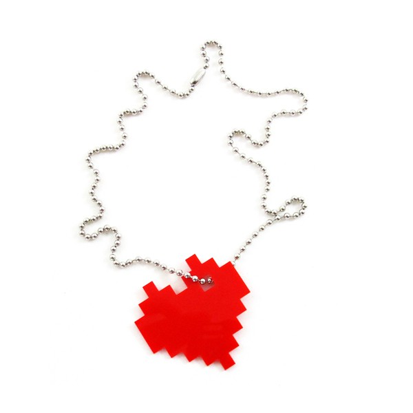 Heart Pendant Necklace With 8 Bit