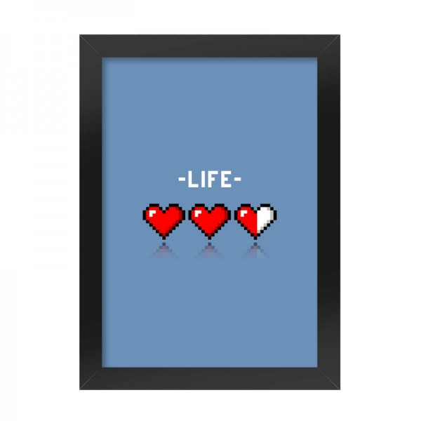 Poster Frame with 8-bit Life Blue