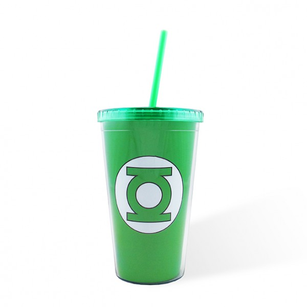 Plastic Cup with Cover Green Lantern