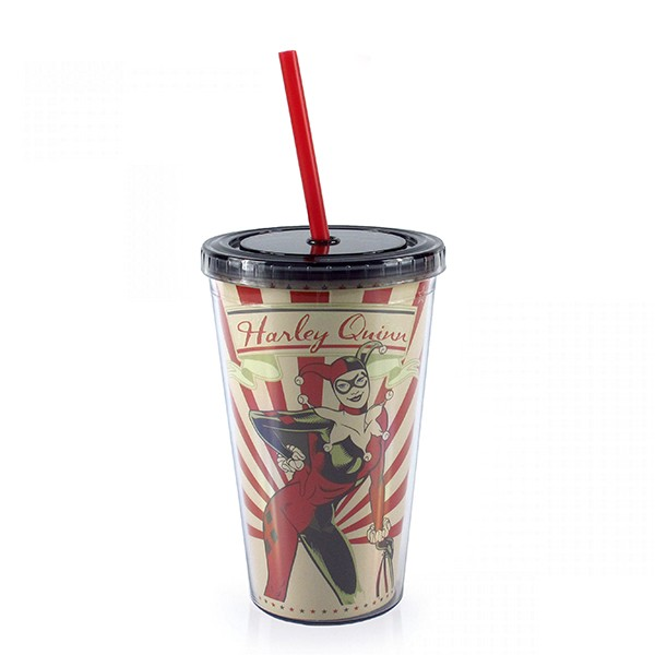 Plastic Cup with Lid and Straw Arlequina